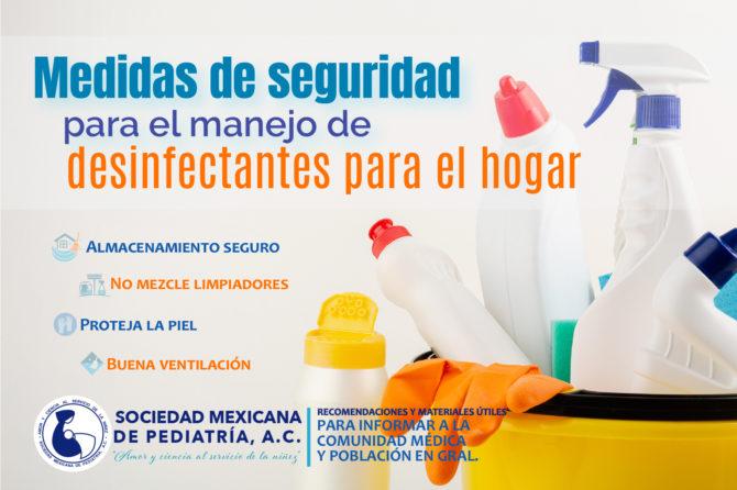 Medidas de seguridad para el manejo de desinfectantes para el hogar.